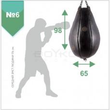 """Груша боксерська шкіряна """" ЕЛІТ"""" №6 98х65 з вузлом кріплення на ланцюгах з підвісним тросом та карабіном"""""""
