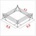 Боксерский ринг Boyko напольный тренировочный, ковер 5,5х5,5 канаты 4,5х4,5
