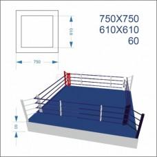 """Ринг боксерський BS - клубний, знижений, поміст 0,6м, 7,5х7,5м, канати 6,1х6,1м"""""""
