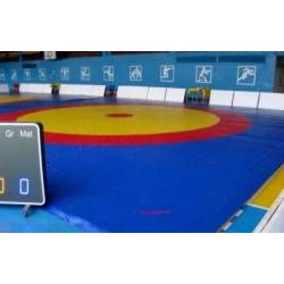 Ковер для борьбы Boyko трехцветный под планку 8х8м маты (5*100*200) ППЭ хим.вспен-го