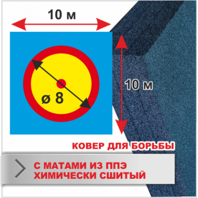 Ковер для борьбы Boyko трехцветный под планку 10х10 маты ППЭ хим.сшитого 5*100*200см