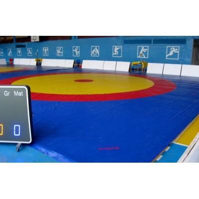 Ковер для борьбы Boyko трехцветный под планку 10х10м маты (4*100*200) ППЭ хим.вспен-го
