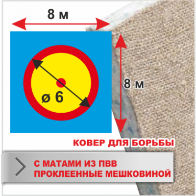 Ковер для борьбы Boyko трехцветный под планку 8х8 маты ПВВ 5*100*200см пл.160