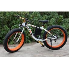 Электровелосипед LKS FATBIKE Electro Rear Drive (бело-оранжевый)