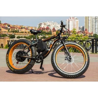 Электровелосипед LKS FATBIKE Electro Rear Drive (черно-оранжевый)