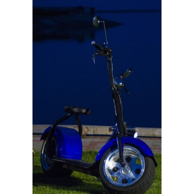 Электроскутер SEEV Citycoco 1500W (Черно-Синий)