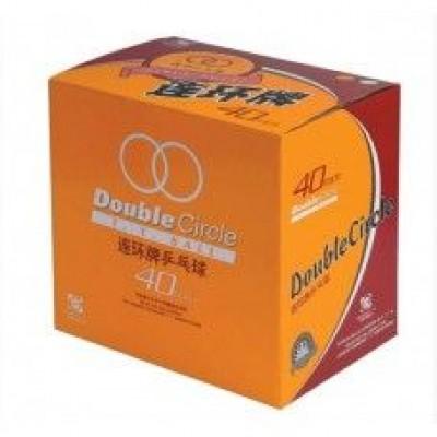 Мячи DHS Double Circle (коробка 144 шт.) белые