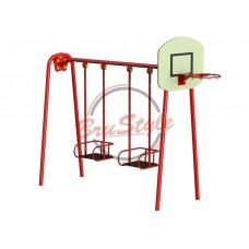 Качели двойные большие с баскетбольным щитом BruStyle DIO323