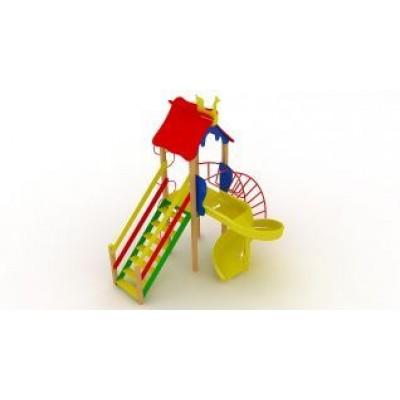 Игровой комплекс Kidigo Петушок с пластиковой горкой Спираль ДК 005.048