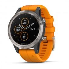 Мультиспортивные часы навигатор пульсометр Garmin fenix 5 Plus Sapphire Ti w/Spark Orange Band 010-01988-05