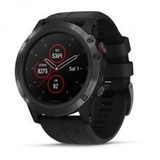 Мультиспортивные часы навигатор пульсометр Garmin fenix 5x Plus Sapphire Black w/Blk Bnd 010-01989-01