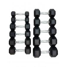 Гантели шестигранные обрезиненные HOUSEFIT, гантельный ряд 1-10 кг DD 6442