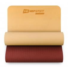 Коврик для фитнеса Hop-Sport TPE 0,6 см HS-T006GM оранжево-красный
