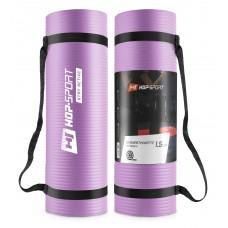 Мат для фитнеса и йоги Hop-Sport HS-N015GM 1.5 см фиолетовый