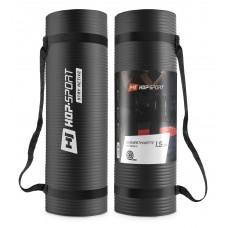 Мат для фитнеса и йоги Hop-Sport HS-N015GM 1,5 см черный