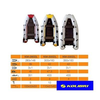 Моторно-гребная надувная килевая лодка КОЛИБРИ КМ-330DL