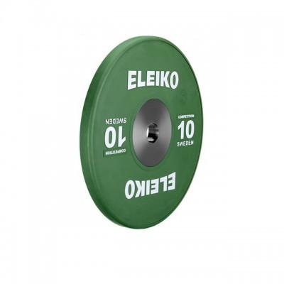 Олимпийский диск Eleiko 3001119-10 для соревнований по тяжелой атлетике 10 кг цветной (d-50 мм), каучук