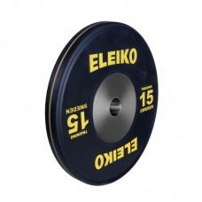 Олимпийский тренировочный диск Eleiko 3001121-15 для тяжелой атлетики 15 кг черный (d-50 мм), каучук