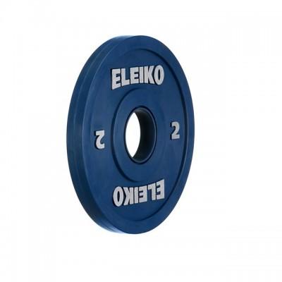 Олимпийский диск Eleiko 121-0020F для соревнований по тяжелой атлетике 2,0 кг цветной (d-50 мм), обрезиненный
