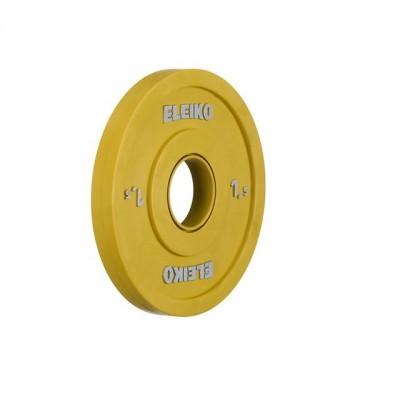 Олимпийский диск Eleiko 121-0015F для соревнований по тяжелой атлетике 1,5 кг цветной (d-50 мм), обрезиненный