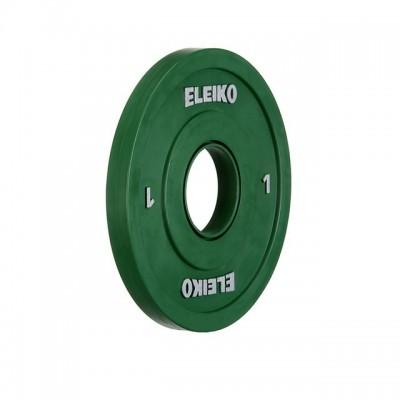 Олимпийский диск Eleiko 121-0010F для соревнований по тяжелой атлетике 1,0 кг цветной (d-50 мм), обрезиненный