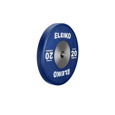 Олимпийский тренировочный диск Eleiko 3001120-20 для тяжелой атлетики 20 кг цветной (d-50 мм), каучук