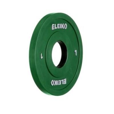 Олимпийский диск Eleiko 124-0010R для соревнований и тренировок 1,0 кг цветной (d-50 мм), обрезиненный