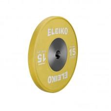 Олимпийский тренировочный диск Eleiko 3001120-15 для тяжелой атлетики 15 кг цветной (d-50 мм), каучук