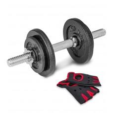 Гантеля металлическая Hop-Sport New 10 кг с перчатками