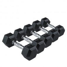 Гантели RISING Rubber Hexagon Dumbbell, DB6101 - 32,5 кг