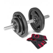 Гантеля металлическая Hop-Sport New 20 кг с перчатками