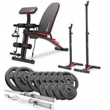 Набор Hop-Sport Strong 76 кг со скамьей HS-1035 и стойками 1002L