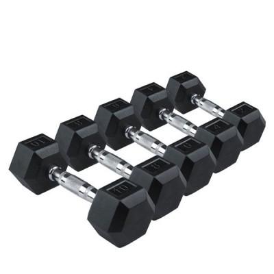 Гантели RISING Rubber Hexagon Dumbbell, DB6101 - 27,5 кг