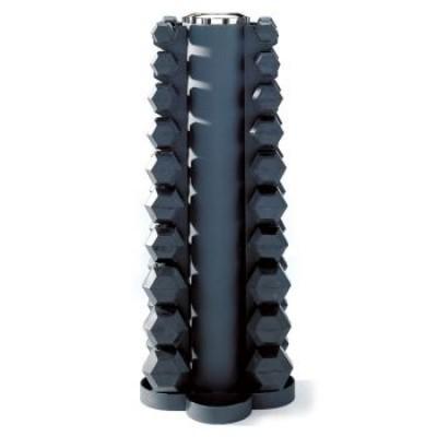 Набор черных обрезиненных шестигранных гантелей 1кг, 2кг, 3кг, 4кг, 5кг, 6кг, 7кг, 8кг, 9кг, 10кг с вертикальной стойкой Pulse 115F