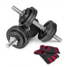Гантели металлические Hop-Sport New 2 х 15 кг с перчатками
