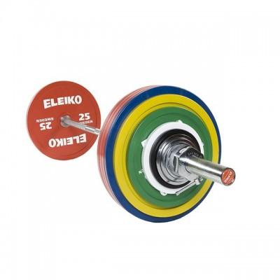 Штанга в сборе Eleiko 3000230 для соревнований по пауэрлифтингу 285 кг цветная