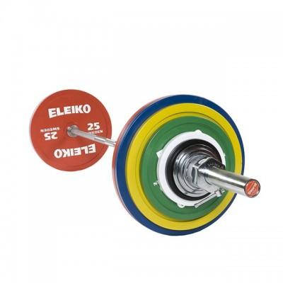 Штанга в сборе Eleiko 3000228 для соревнований по пауэрлифтингу 185 кг цветная